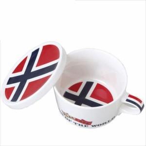 取寄品 国旗デザイン ふた付マグカップ フラッグカフェ ノルウェー NORWAY 日本製誕生日ギフト雑貨通販