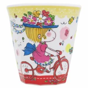 水森亜土 メラミンカップ Wプリント メラミンカップ 自転車 花飾り かわいい グッズ