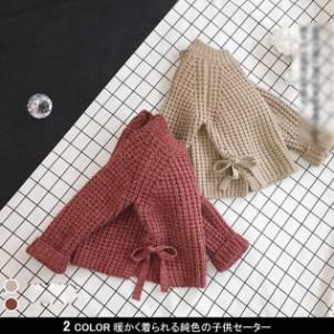 ea26e609f7c1e セーター 子供服 女の子 スリット入り 伸縮性 ニットトップス 純色 長袖 秋新作 プルオーバー