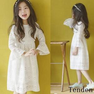 bcde534bed1d6 y子供服 女の子 ワンピースドレス ワンピ ホワイト可愛い キッズ用 通学 ワンピース dress レースワンピース