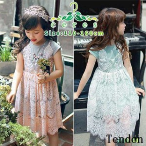 d4e60c16e3e1d 半袖ワンピース 韓国子供服 レース キッズ 子供服 夏 女の子 花柄 重ね着風