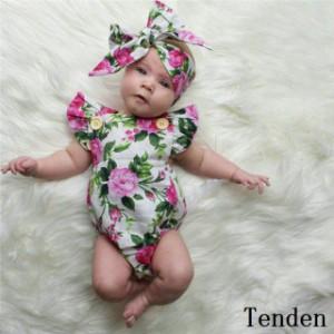 9dc9daf55e4d8 ロンパース 赤ちゃん ベビー 子供服 出産祝い 赤ちゃん 新生児 花柄 2点セット 可愛い ガールズ 韓国子供服 女の子 夏 キッズ
