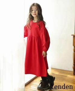 e01209142b541 子供服 ワンピース 長袖 無地 半袖 キッズ 秋 赤 ロングワンピース おしゃれ 女の子 韓国子供服