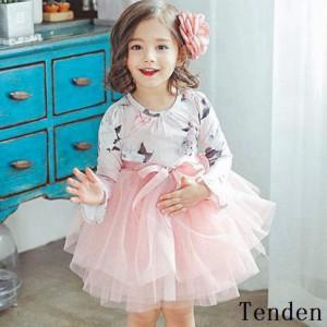 韓国子供服 女の子 ワンピースドレス 綿 ハイウエスト 長袖 チュール ワンピース 春着 レースドレス ワンピース ワンピース チュチュ リ