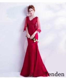 4aa05c7df7c15 ロングドレス マーメイド 赤 カラードレス ボレロ 発表会 イブニングドレス パーティードレス コンサート 二次会 披露宴 演奏会 カクテル