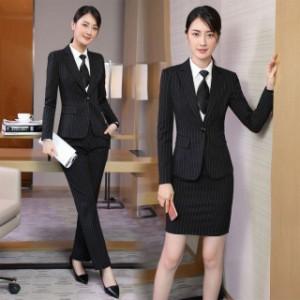 08bce91beee39e ビジネスパンツスーツ スカートスーツ ストライプ レディースフォーマル/事務服/長袖スーツ/OL制服/2点セット/細身シルエットで、美スタ
