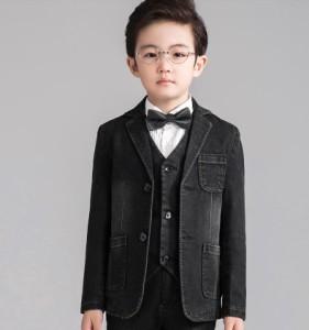 f3d9d80e9a17b 5点セット デニムスーツ キッズスーツ 男の子スーツ 子供スーツ タキシードスーツ 男児 フォーマルスーツ 七五三 韓国風 ピアノ 110~170