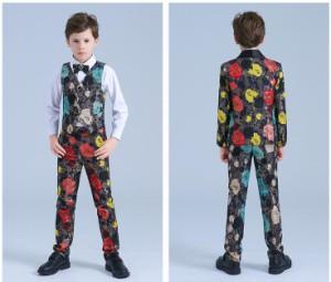 9d98e43797ff1 花柄 男の子スーツ 子供スーツ 6点セット フォーマル ピアノ 男児 120~150 キッズスーツ ダブルボタン 司会 卒業式 七五三