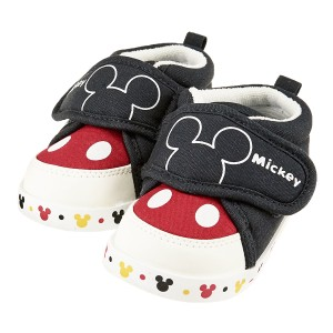 a9d6da0b858e8 Disney baby ディズニーベビー ミッキーマウス ベビースニーカー ファーストシューズ ブラック×レッド DP-0150