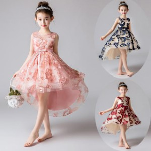子供 ドレス フィッシュテール キッズドレス ピアノ 発表会 女の子 ドレス 膝丈 ミニ 結婚式 フォーマル 子供服 ワンピース フレアスカー