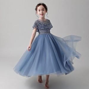 子供 ドレス ロング プリンセス キッズドレス ピアノ 発表会 女の子 結婚式 フォーマル 子供服 ワンピース フレア 半袖 チュール マント