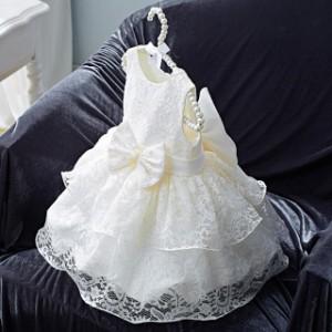 子供 ドレス 膝丈 プリンセス フレア レース かわいい リボン 袖なし 赤ちゃん キッズドレス ピアノ 発表会 女の子 ドレス 小さいサイズ