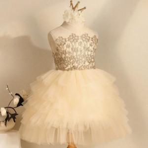 子供 ドレス ミニ プリンセス ゴールド かわいい おしゃれ 個性的 キッズドレス ピアノ 発表会 女の子 ドレス 子ども 結婚式 フォーマル