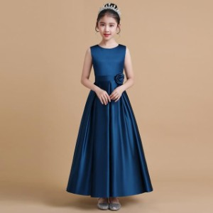 4色 子供 ドレス ロング マキシ丈 大人っぽい シンプル 無地 キッズドレス ピアノ 発表会 女の子 ドレス ロングドレス 結婚式 フォーマル