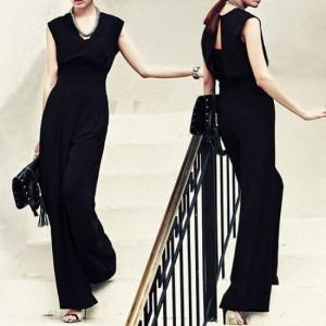 パーティードレス パンツ パンツドレス かっこいいパンツドレス ノースリーブ ワイドパンツ 黒 パーティードレス パンツ 大きいサイズ 結