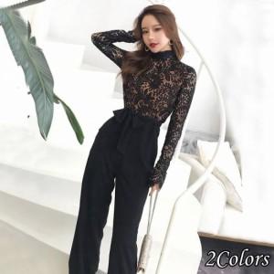 パーティードレス パンツ  パンツドレス かっこいいパンツドレス 結婚式 お呼ばれドレス パンツ パーティードレス パンツ袖あり 黒 レー