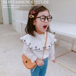 2c50e02077da5 女の子 長袖ブラウス 子供用 トップス プルオーバー 刺繍 キッズ 韓国子供服 フレア袖 フリル