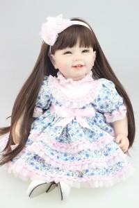 リボーンドール お嬢様 ロングヘア お姫様 女の子 プリンセスドール トドラー人形 赤ちゃん人形 ベビー人形 ベビードール 衣装付き 55cm
