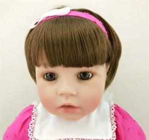 リボーンドール トドラー人形 新作ショートヘアかわいい女の子 ピンクドレス リアル赤ちゃん人形 ベビー人形 綿&シリコンビニール