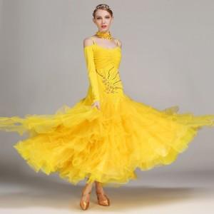 48e5633a8f2e6  サイズ選択可 社交ダンス ドレス スタンダード モダン デモ ダンス衣装 競技ダンス イエロー