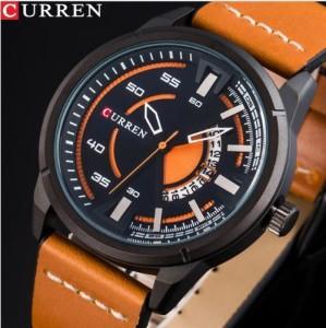 6015291ef4 CURREN メンズ腕時計 海外トップブランド メンズファッション クォーツ時計 アナログ ミリタリー(ブラックオレンジ)