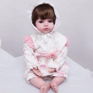 リボーンドール 女の子 赤ちゃん人形 ベビー人形 ベビードール トドラー 綿ボディ 55cm かわいいフードつきベビー服