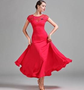 66ce94febdaf7 レディース社交ダンス用ワンピース 今季新作 レース付上品ダンス衣装 赤色 サイズS M