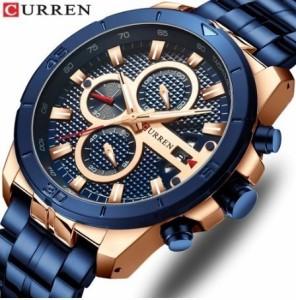 9d9980c75c Relogio masculinoカレンメンズ腕時計高級ブランドビジネススチールクォーツカジュアルウォッチ防水男腕時計クロノ