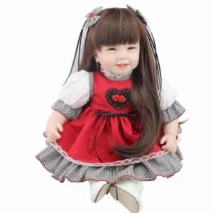 【税込】 リボーンドール 55センチ 笑顔 ロングヘア 女の子 リボーンドール 赤ちゃん ベビー 人形 ベビードール トドラードール