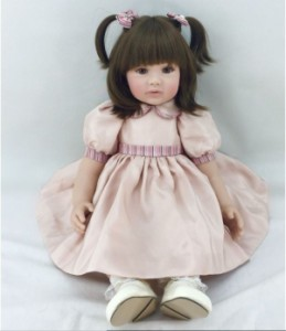 【税込】 リボーンドール ボブヘア 2つ結びの女の子 プリンセスドール トドラー人形 赤ちゃん ベビー 人形 ドール 衣装付き 60cm