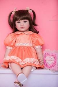 【税込】 リボーンドール プリンセスドール トドラードール 茶髪 2つ結び 女の子 幼児 赤ちゃん人形 ベビードール 綿&シリコン