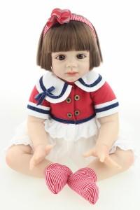トドラー人形 リボーンドール 赤ちゃん ベビー 人形 60cm 衣装付き ブラウン おかっぱ ボブヘア ブラウンアイ 女の子
