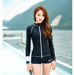 長袖 水着2点セット タンキニ フィットネス 細身 ショットパンツ  レディース  体型カバー UVカット 日焼け防止 海水浴 水着  オシャレ