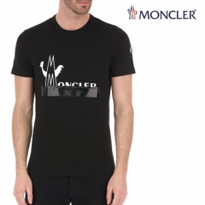 送料無料!!111 MONCLER モンクレール 8C70910 8390T ロゴ プリント Tシャツ ブラック