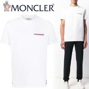 送料無料!!114 MONCLER モンクレール 80075 00 8390Y トリコロール ポケット付き Tシャツ ホワイト