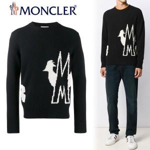 送料無料!!【7】MONCLER モンクレール ブラック ロゴ&レタリング ニット セーター [9041300A9040]