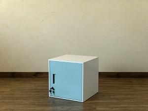 鍵付きロッカー扉付き キューブBOX JAC-04ブルーBL 収納キャビネット 貴重品保管 スチール製ロッカー 収納ボックス