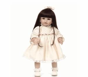 トドラー人形プリンセスドールリボーンドール抱き人形高級ハンドメイド海外ドールかわいい幼児 黒髪ロングヘア ドレス立てるお人形