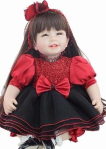 リボーンドール プリンセスドール お姫様 お嬢様 トドラー ベビー人形 ベビードール 抱き人形 高級海外ドール 赤と黒のドレス ロングヘア