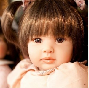 リボーンドール ボブヘア 2つ結びプリンセスドール トドラー人形 ベビー人形 衣装付き/綿&シシリコン60cm