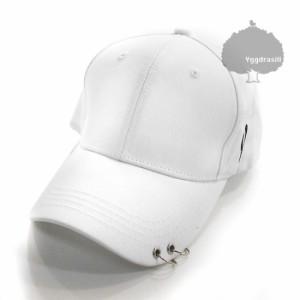 フープ付き ベースボール キャップ 帽子 白 リング ホワイト 韓流 ユニセックスOK