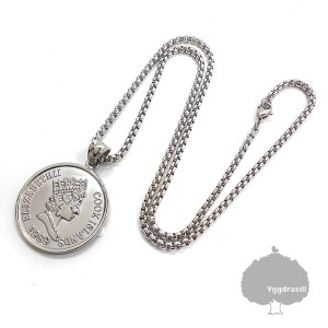 コインモチーフ ネックレス シルバー 硬貨 銀 ペンダント イギリス 男女兼用 韓流