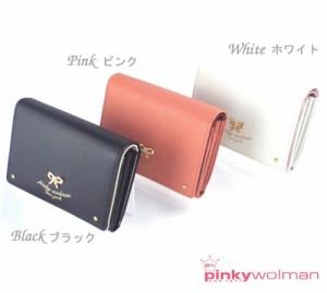 8355601dd42a ピンキーウォルマン pinkywolman ティファシリーズ 二つ折り財布 70301 全3色 (ホワイト・