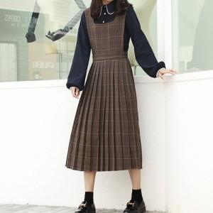dabf40ad82f52 ジャンバースカート チェック柄 ロング プリーツ 秋冬 サロペット 茶色 可愛い 10代 服 レディース cr0611