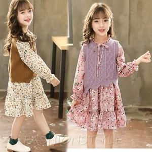 d8ffdccb7b782 新作 シンプル 子供服 女の子 ニット長袖 ニットベスト&ワンピース 韓国子供服 女の子 2