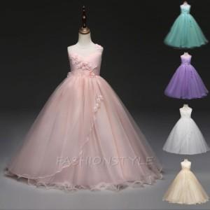 子供ドレス ロング ワンピース 子どもドレス フォーマル ピアノ発表会 チュール 七五三 ジュニアドレス  120cm-170cm