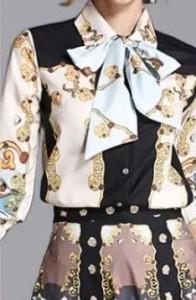921136b056a92 クラシック スカーフ付き セパレートドレス ヴィンテージ風 パーティー ドレス レトロ アンティーク ワンピース ミモレ丈 エレガント