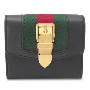 e1ac9b95d2d0 グッチ 折財布 レディース ブラック 黒 GUCCI 財布 SYLVIE 476081 CWLSG 1060の画像