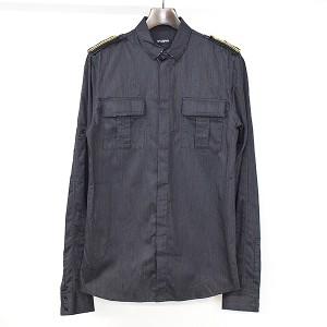 """""""【中古】BALMAIN HOMME バルマン オム ミリタリーショルダーデザインシャツ メンズ ブラック 38"""""""