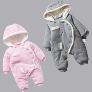 f30bb0037bae5 ベビー服 ロンパース 新生児 赤ちゃん 冬 着ぐるみ 防寒着 フッド付き もこもこ カバーオール